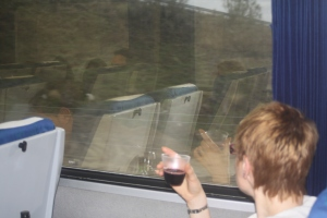 Glass of wine on train